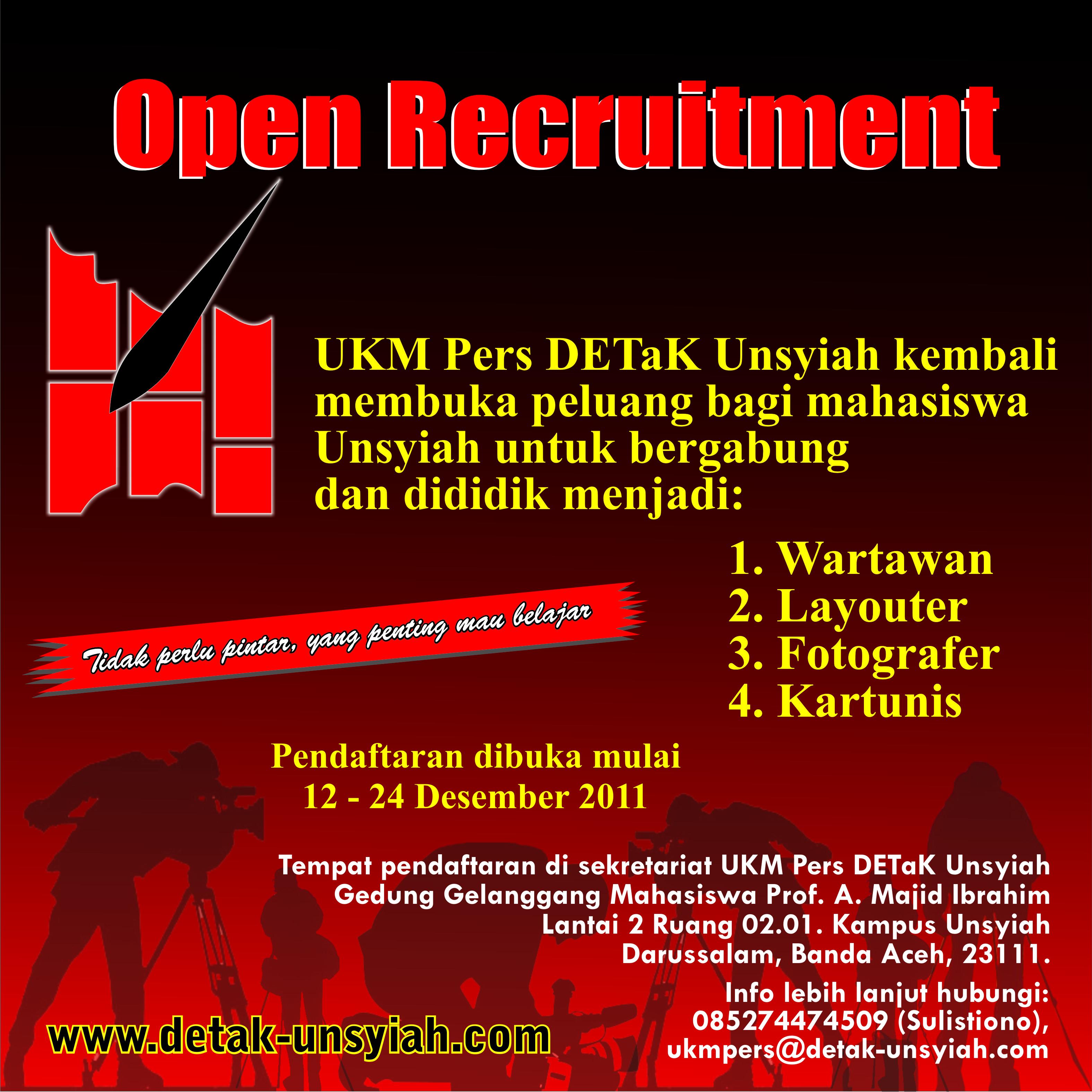 Contoh Spanduk: UKM Pers DETaK Unsyiah Open Recruitment [OR]